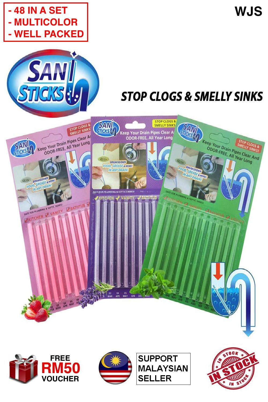 (MULTICOLOR & WELL PACKED) 48 pcs 48pcs WJS Sani Sticks Sani Stick Kitchen Dapur Sink and Bathtub Drain Cleaner ANTI-BACTERIA LEMON LAVENDER FLAVOR [FREE RM50 VOUCHER]