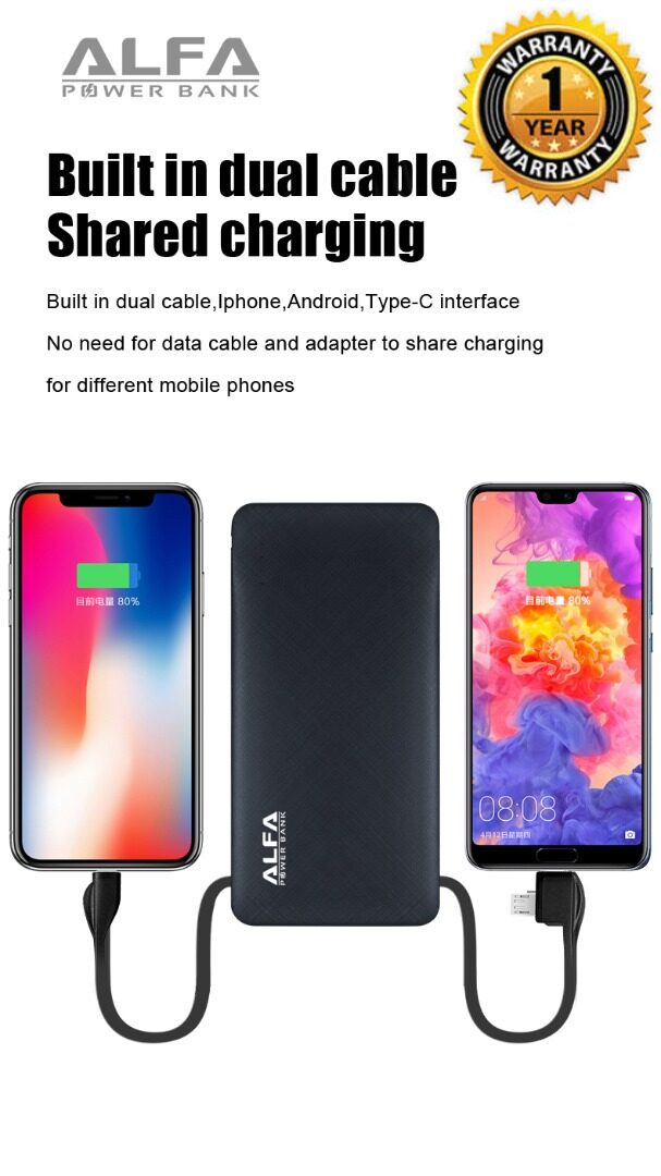 Alfa Power Bank 10000Mah 2.1A built in 3 In 1 fast Charging Cable