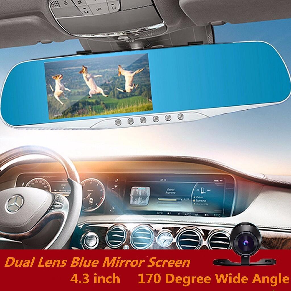 Vehicle GPS - 4.3'' Car HD Dual Lens Rear View Touch Screen Car DVR Dash Cam Camera 1080P - Car Electronics
