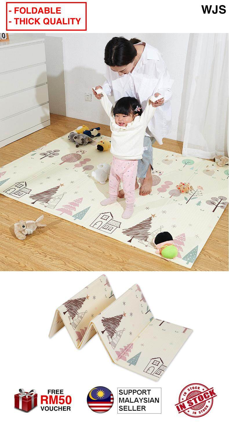 (FOLDABLE & THICK) WJS Waterproof Thick Baby Play Mat Foldable Puzzle Playmat Play Mat Game Pad for Children 200*150*1cm Foam Crawling Mat Play Zone Activity Area BEIGE [FREE RM 50 VOUCHER] baby toys