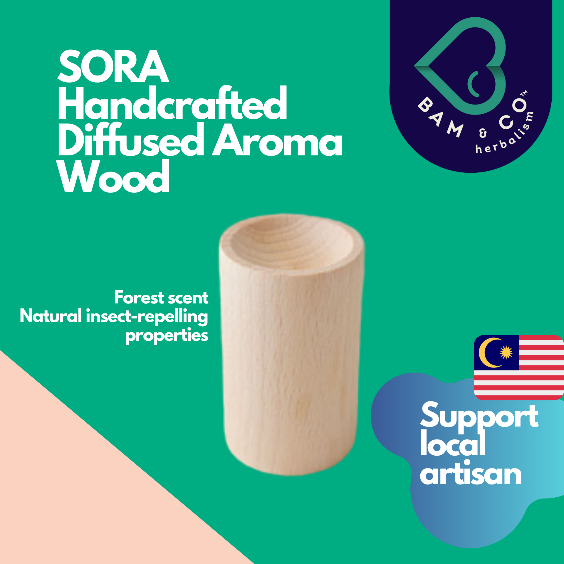 BAM & CO (NEW LAUNCH) SORA Essential Oil Diffuser Aroma Artisan Handcraft Natural Wood - Sleep Aid - Aromatheraphy