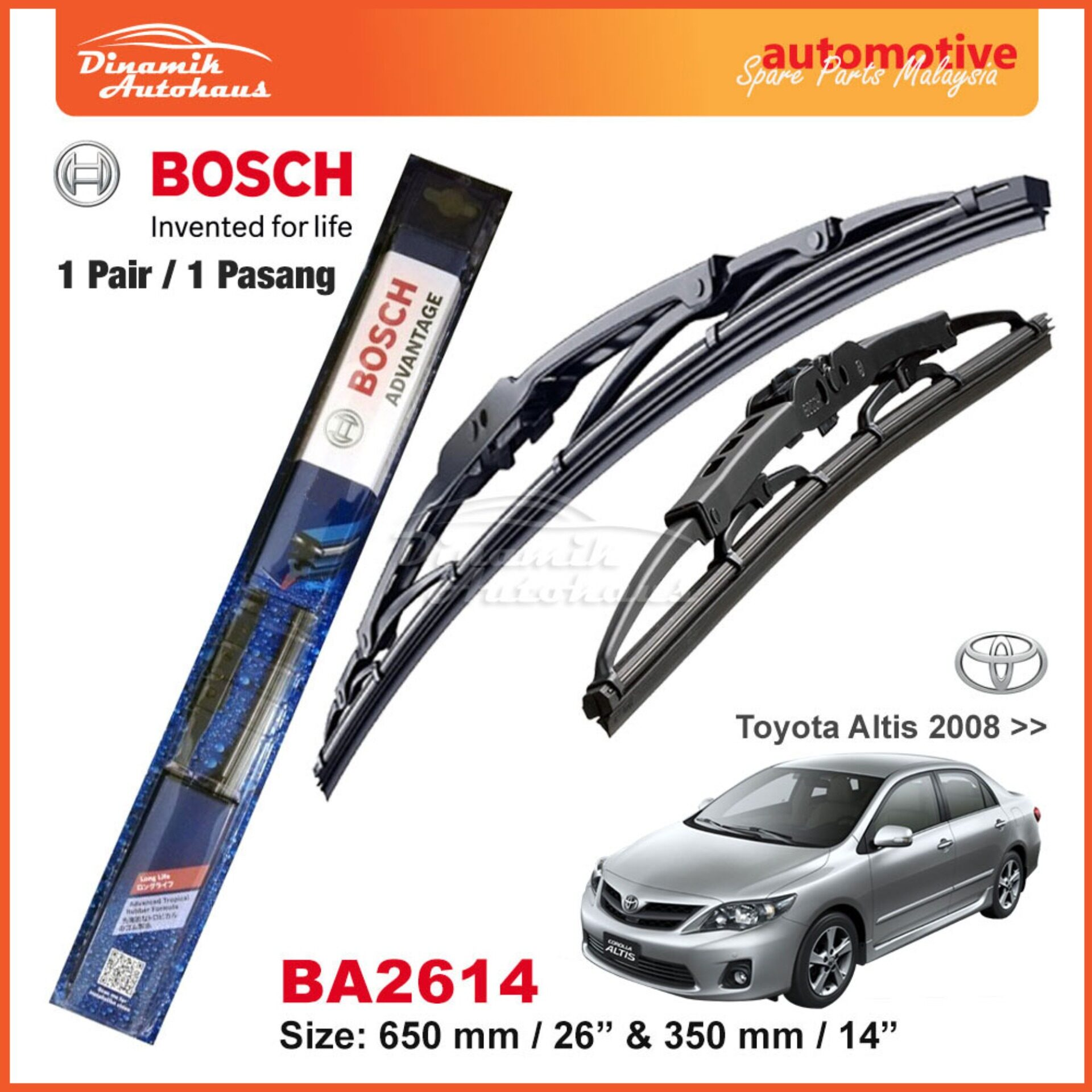 "Toyota Altis Car Year 2008+ Windshield Wiper Blade 26"" / 14"" Bosch Advantage BA2614"