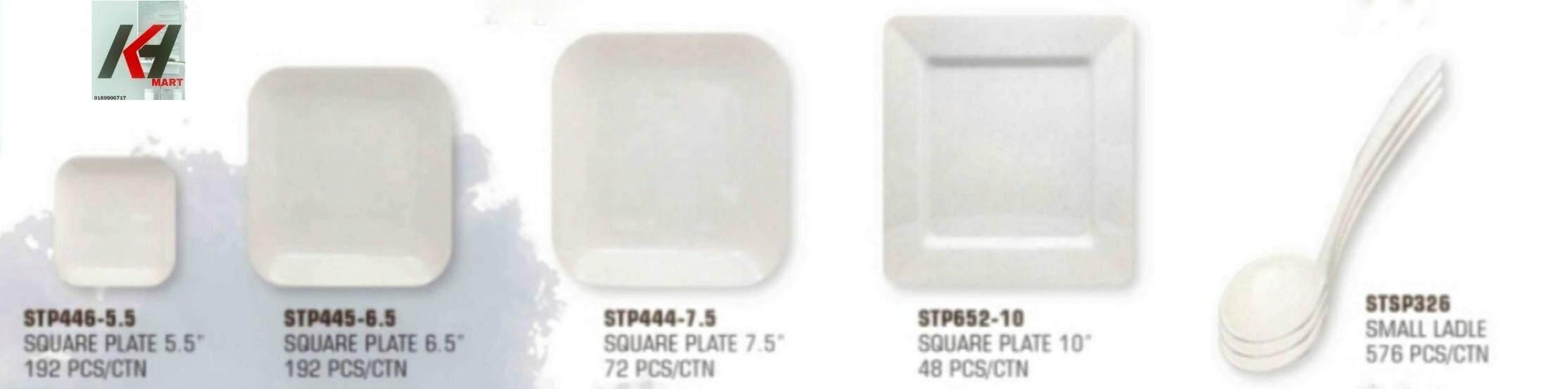 MELAMINE / MILAMINE SQUARE  PLATE  WHITE 1 PCS READY STOCK