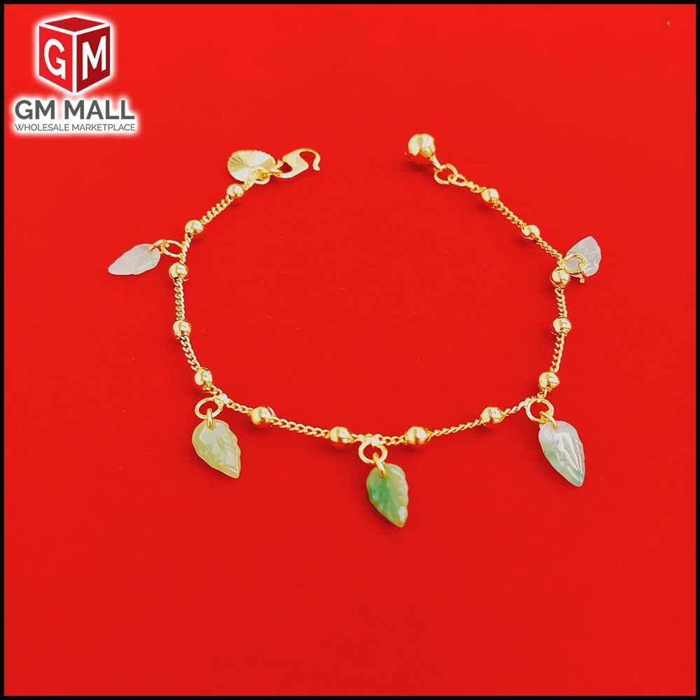 Emas Korea Jewellery - Gelang Tangan Papan Bulat + Jed Ori Gold Plated (EK-2038-6)