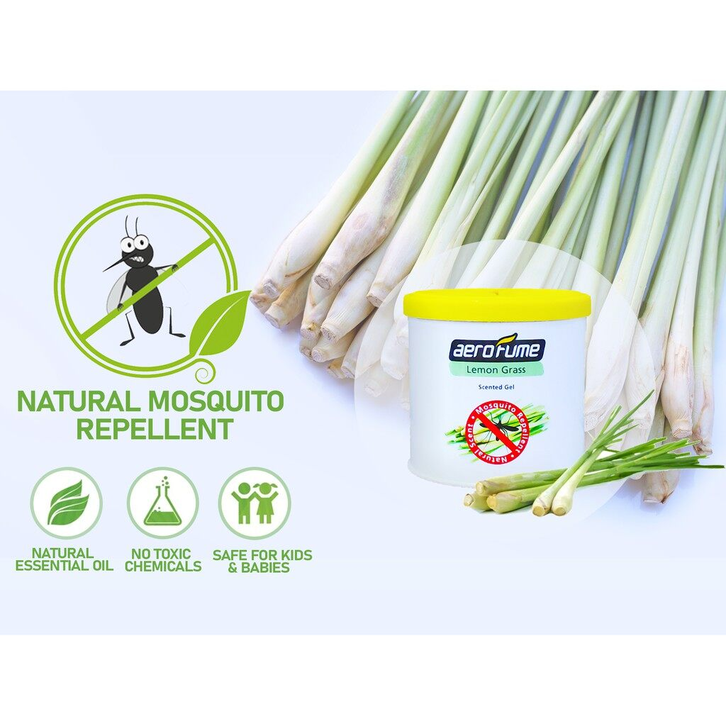 Lemon Grass Natural Mosquito Repellent Twin Pack (70g x 2) Air Freshener Scented Gel Car Perfume Pewangi Ubat Nyamuk