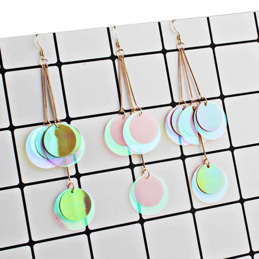 Best Selling Fashion Exaggerated Bohemian Style Glitter Paillette Earrings Women All-match Jewelry (Pink)