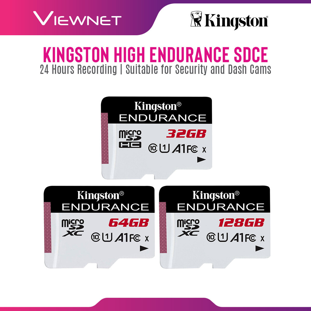 Kingston High Endurance Micro SD Memory Card SDCE Series (32GB / 64GB / 128GB) with Class10, USH-1, 95MB/s Read and 45MB/s Write, 24/7 Reliable Recording, High-Performance, Seamless Recording, Durable in Harsh Conditions