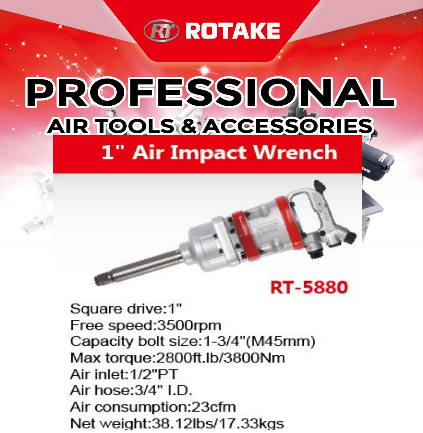 "1"" inch air compressor high pressure press twin hammer impact wrench torque socket connector connect tire tyre lock fit hold holder drive drill machine jack gun handle hand power tool wheel nut lock roll roller machine out grip hose handling tight auto"