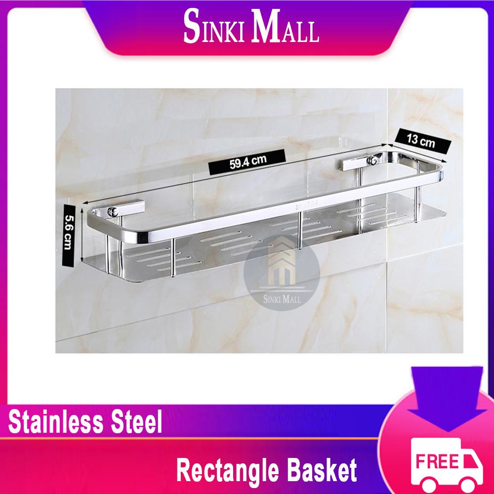 SUS304 Stainless Steel Rustproof Rectangular Single Bath Shelf Bathroom Shower Basket Rust Free Polish Finish