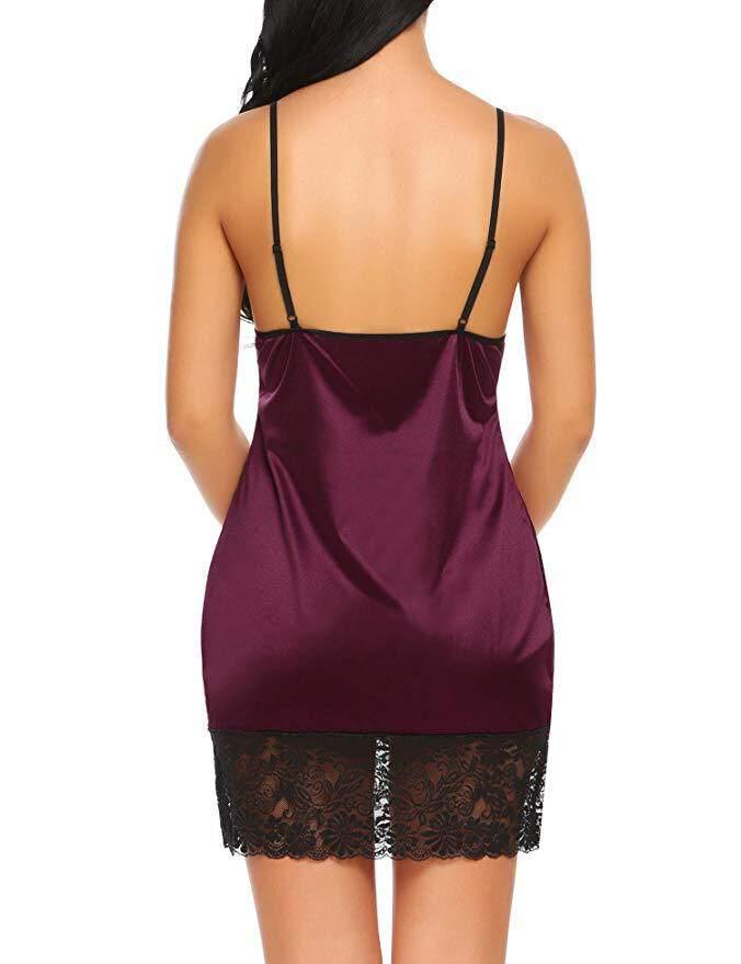 Bolster Store Plus Size Women Lace Sheer V Neck Erotic Teddy Sleepwear Nightgowns Sexy Babydoll Nightwear with G-string Lingerie Night Dress #Y134