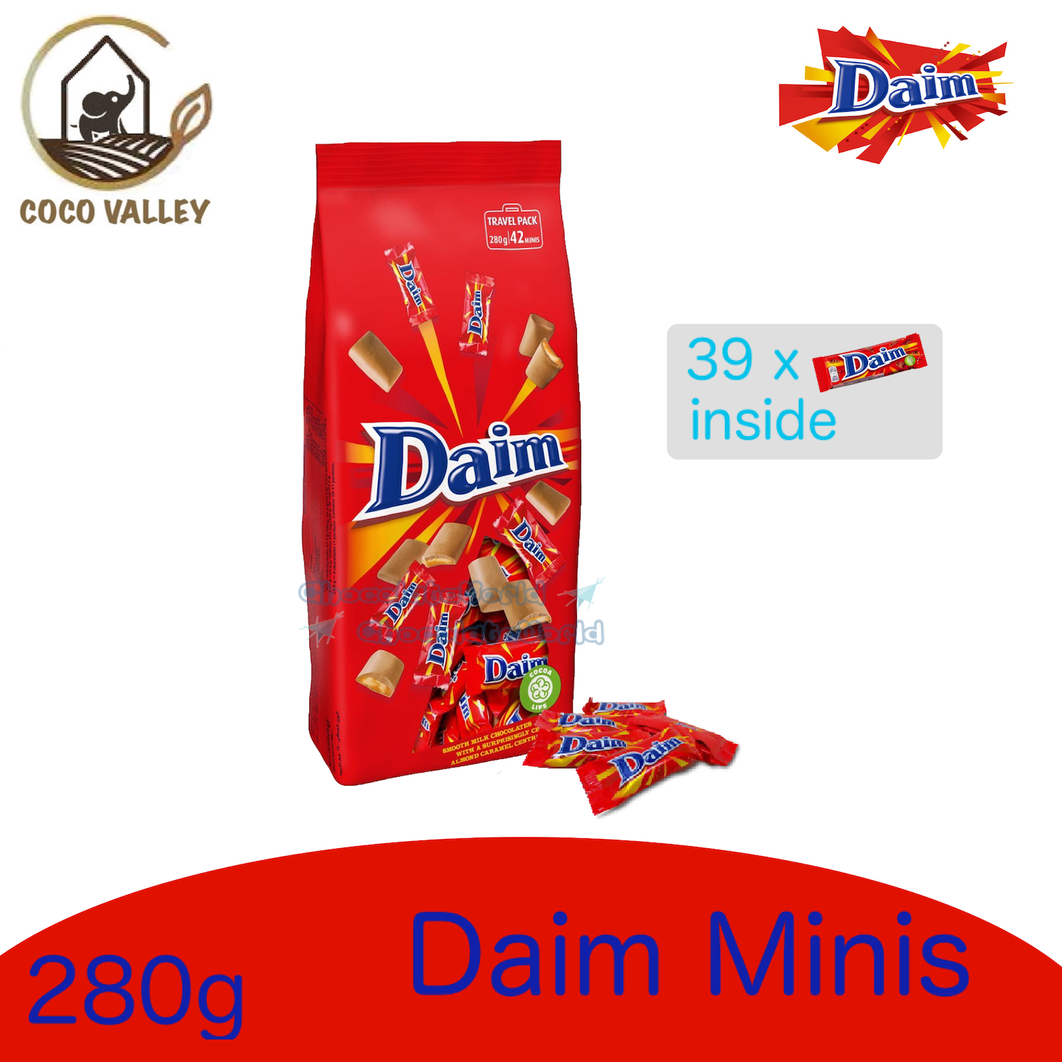 Daim Chocolate 39pcs Pack 280g (Made in Sweden)