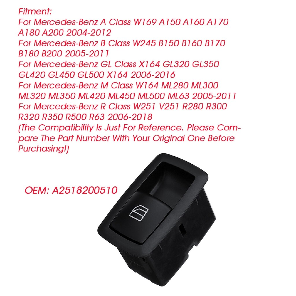 Car Lights - A2518200510 Passenger Side Power Window Switch Control Button For Benz A B GL M - Replacement Parts
