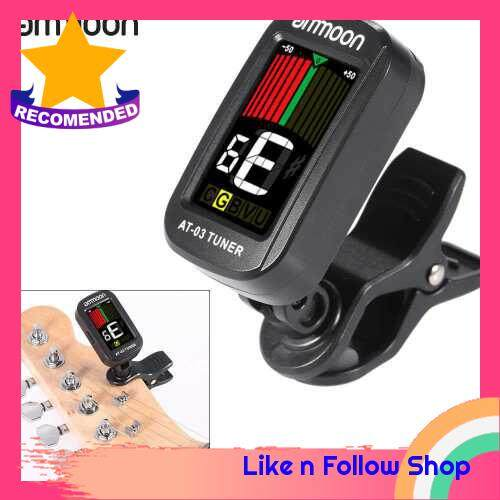 ammoon AT-03 Clip-on Electric Tuner Color LCD Screen 360 Rotatable for Guitar Bass Violin Chromatic Ukulele Universal Exquisite Portable (Black)