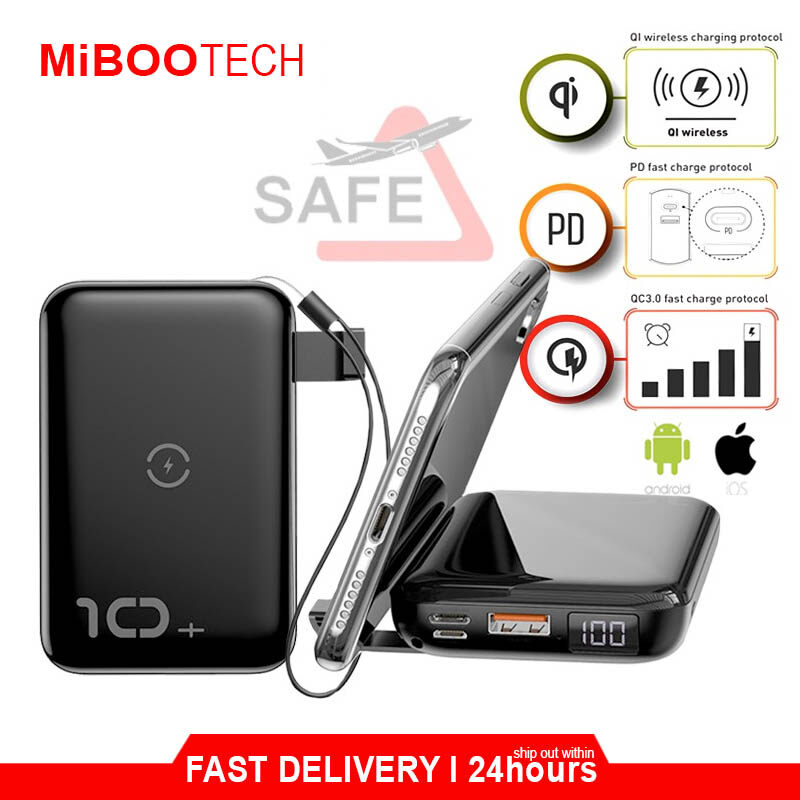 [Miboo] Original 10000mAh PD Quick Charge 3.0 Baseus F10W Wireless Fast Charging PowerBank For All Phone New IPhone / Samsung / Huawei / Oppo - Powerbank Only - Black