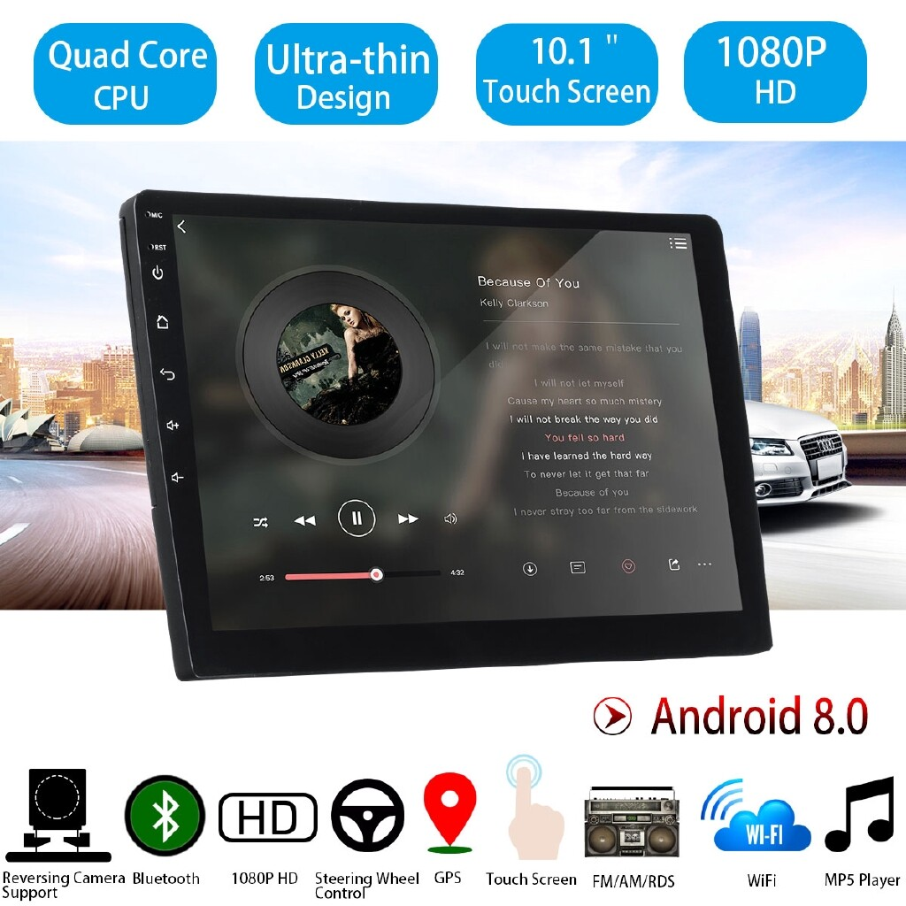 Car Lights - 2DIN 10.1 ULTRA-thin Car Stereo Android 8 WIFI BLUETOOTH Radio MP5 Player - Replacement Parts