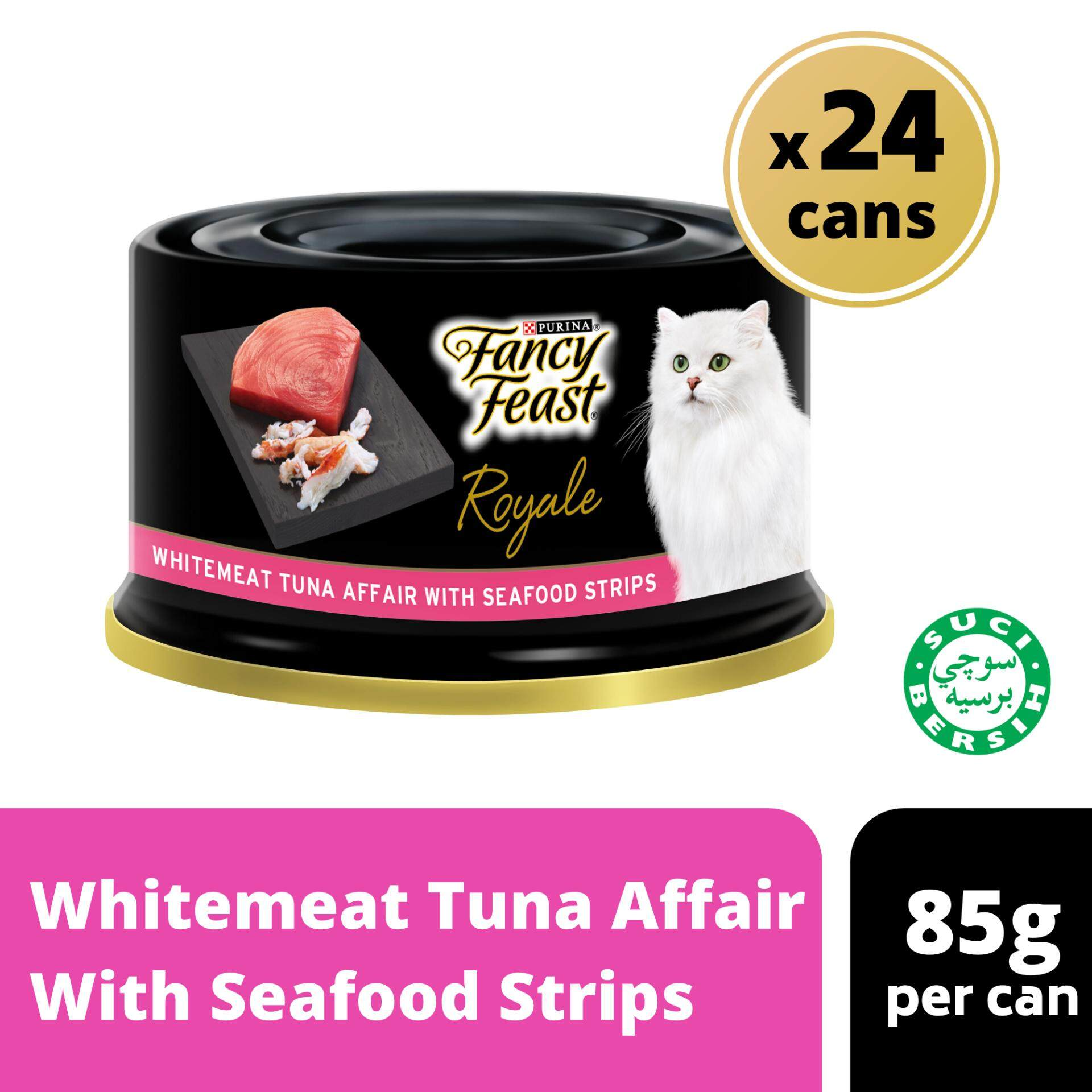 FANCY FEAST ROYALE Whitemeat Tuna Affair With Seafood Strips Wet Cat Food Can (24 x 85g)