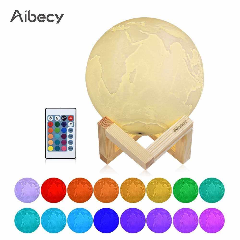 Aibecy 8cm/3.1in 3D Printed Earth Lamp LED Light 16 Colors RGB Adjustable Brightness Touch & Remote Control USB Recharge with Wooden Stand Festival Gift Home Western Restaurant Decorative Night Light (8)