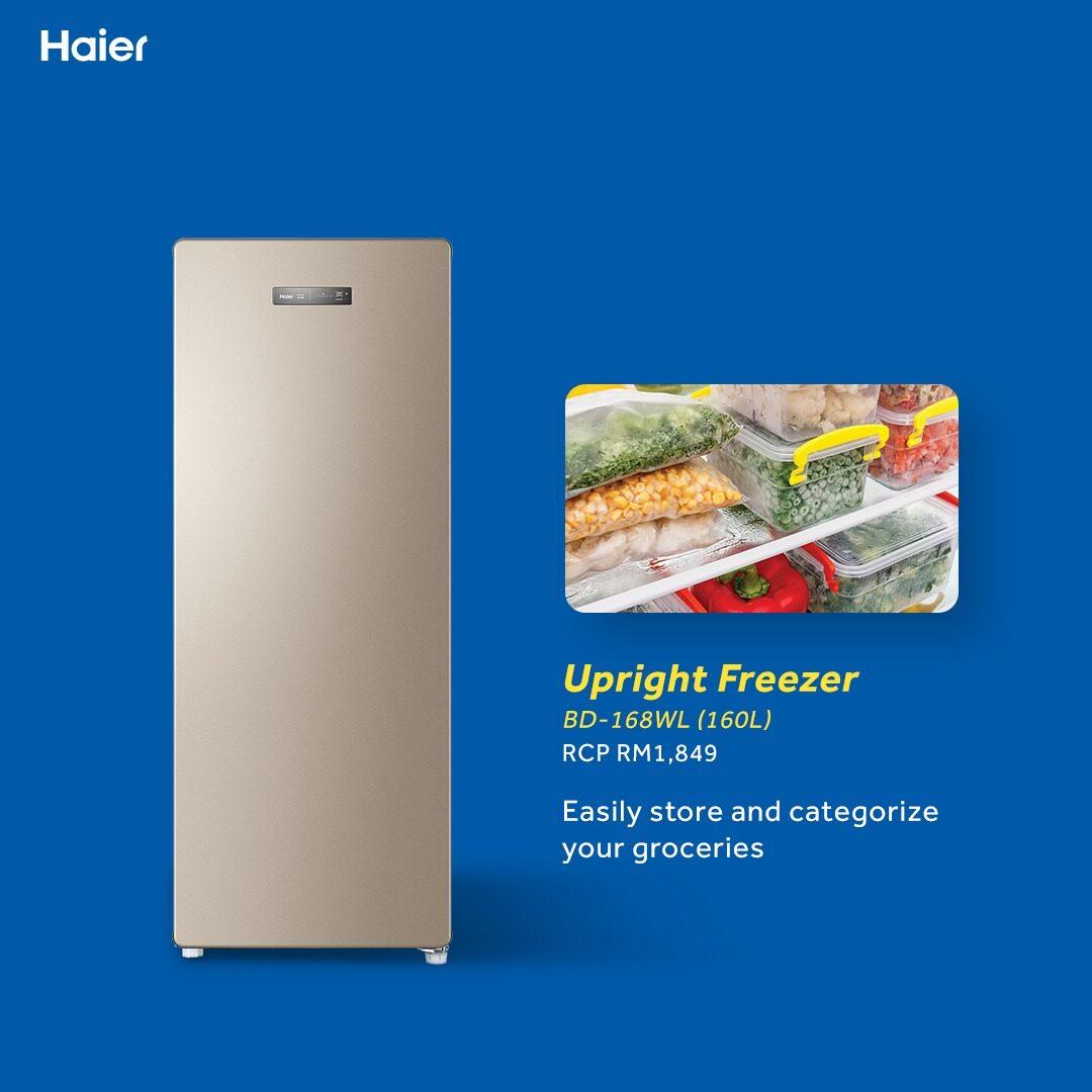 Haier 168L BD-168WL Freezer Digital Touch Control Space Saver Freezer