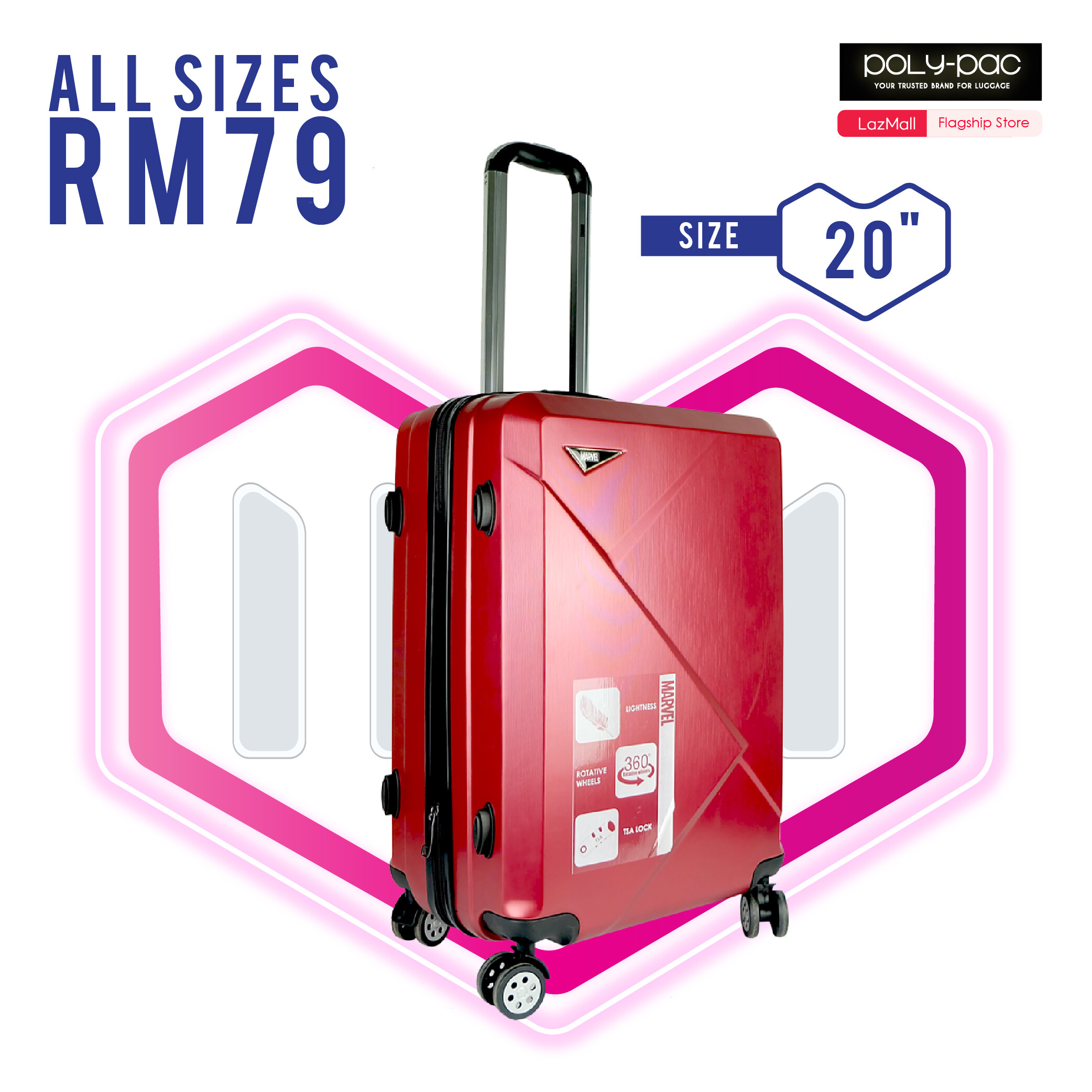 RM79 for Selected Marvel ABS / PC Luggages 20 inch