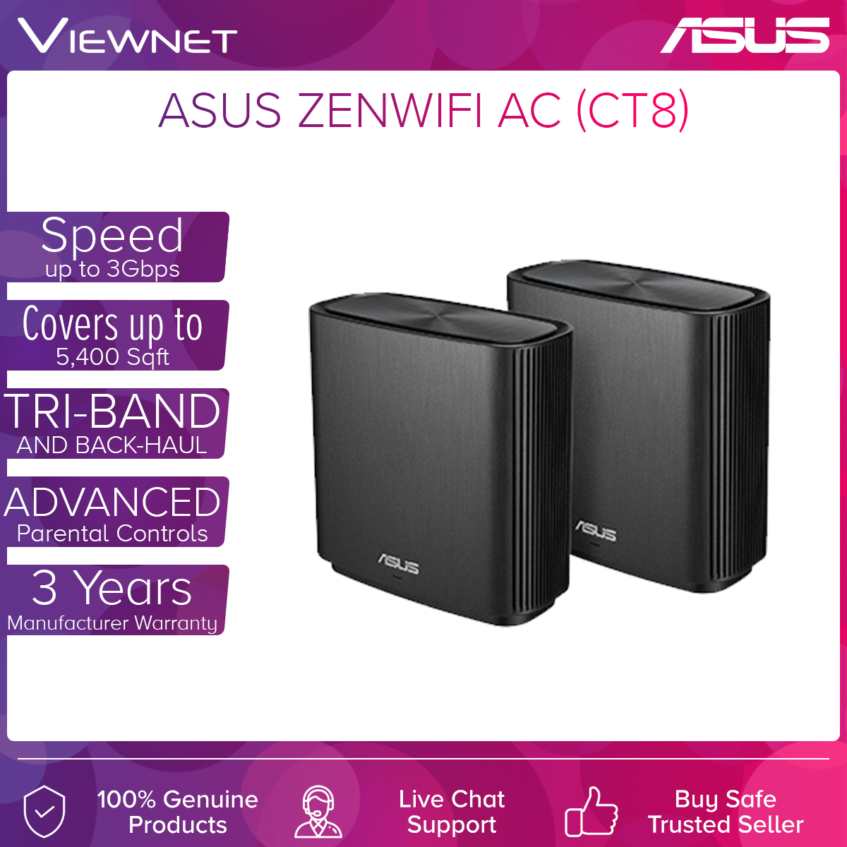 ASUS ZenWiFi AC CT8 Mesh WiFi System AC3000 Tri-Band Wireless AC Router (2 pack)