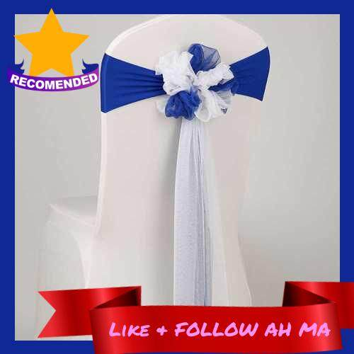 Best Selling Chair Sash Bow Elastic Chair Ribbon Back Tie Bands for Wedding Party Ceremony Banquet (Blue)