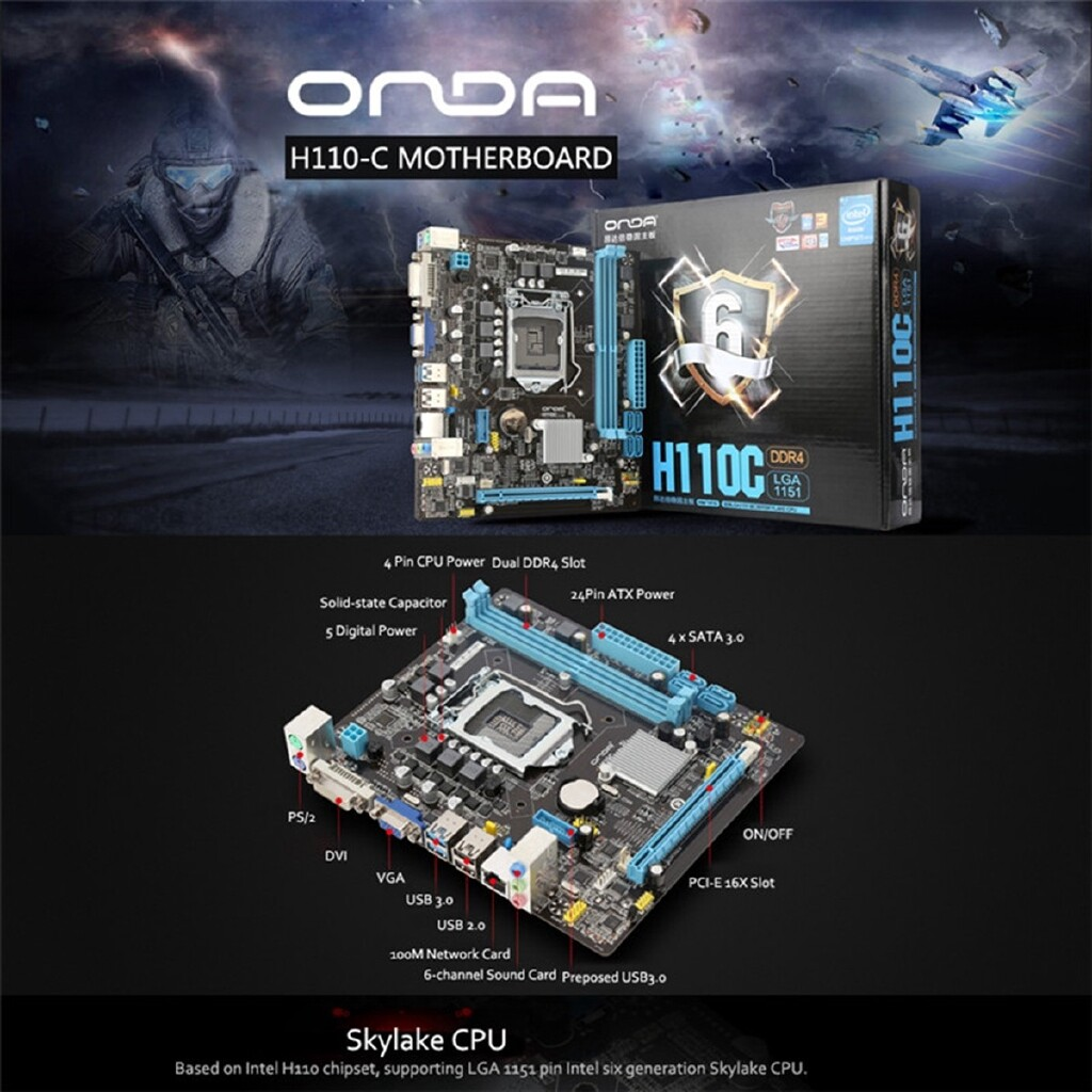 Motherboards - ORIGINAL Onda H110C Motherboard Solid State Capacitance Intel HChip 1151 pin - Components