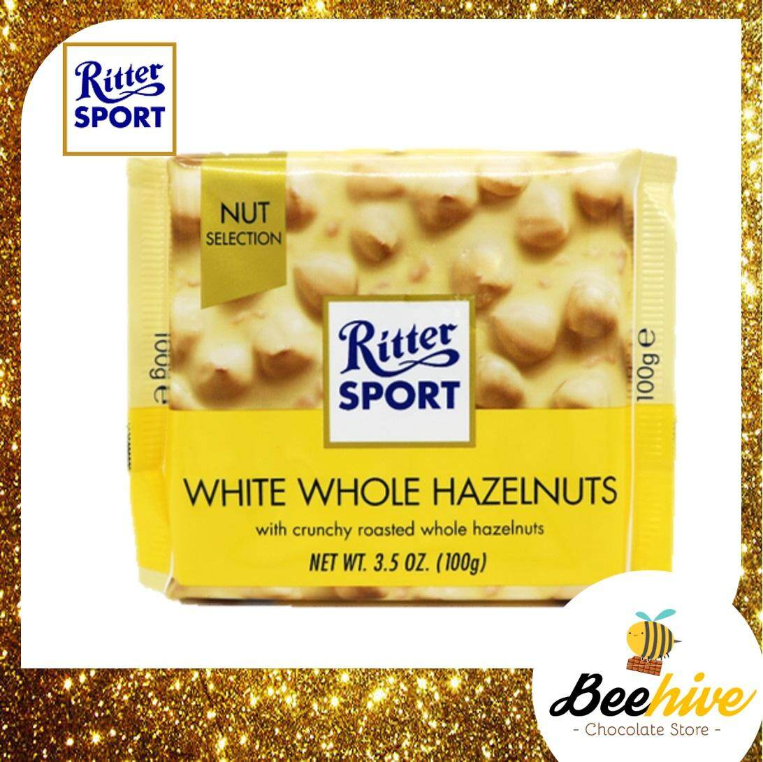 Ritter Sport White Whole Hazelnuts Chocolate 100g [Ice Cold Packs Included]