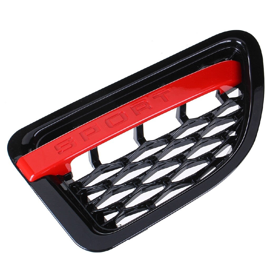 Car Lights - For 2005-2009 Rover Range Sport Black/Red Mesh Side Fender Air Vent Grille Grill Elec-Mall - Replacement Parts