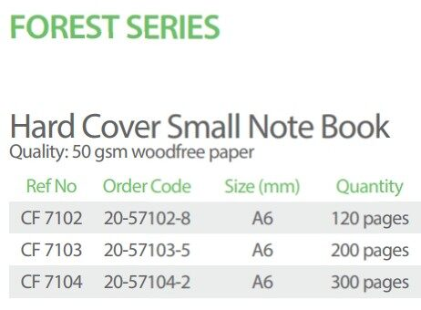 FOREST CF7103 200p A6 55gms HARD COVER NOTE BOOK x 10pcs