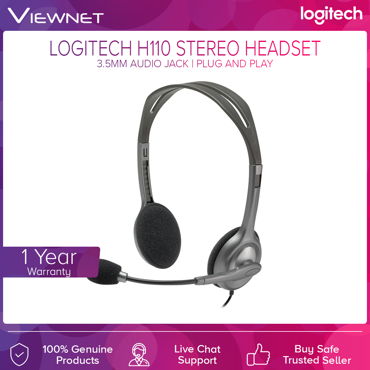 Logitech H110 Stereo Headset with 3.5mm Audio Jack, Rotating Microphone, Adjustable Headband, Cable Length 1.8m (981-000459)