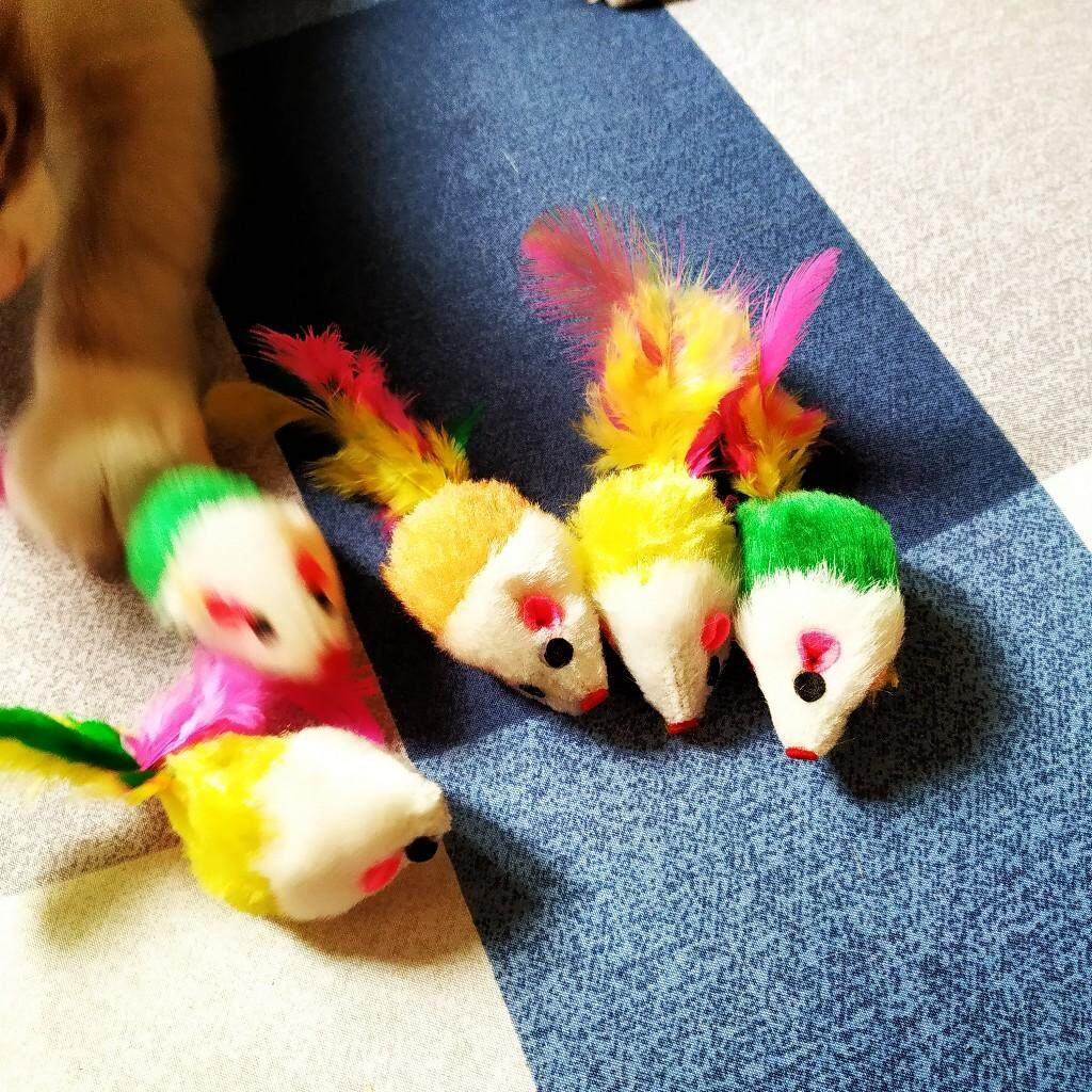 (NEET NEKO) Cat Toys Mouse with Feather 5 pcs / toy for cat / mainan kucing / Toy mouse / cat mouse / Self-Entertain