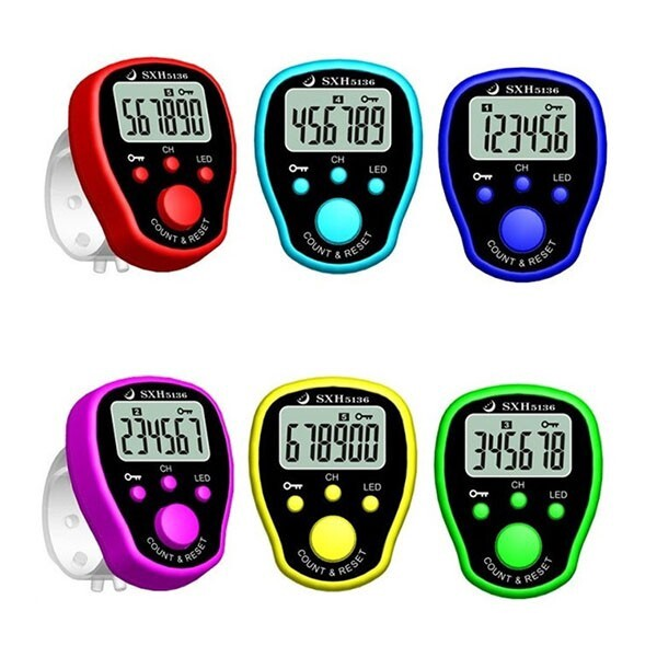 Clocks - MINI Stitch Marker Row Finger Counter LCD Display Counter - PURPLE / DARK BLUE / YELLOW / RED / LIGHT BLUE / GREEN