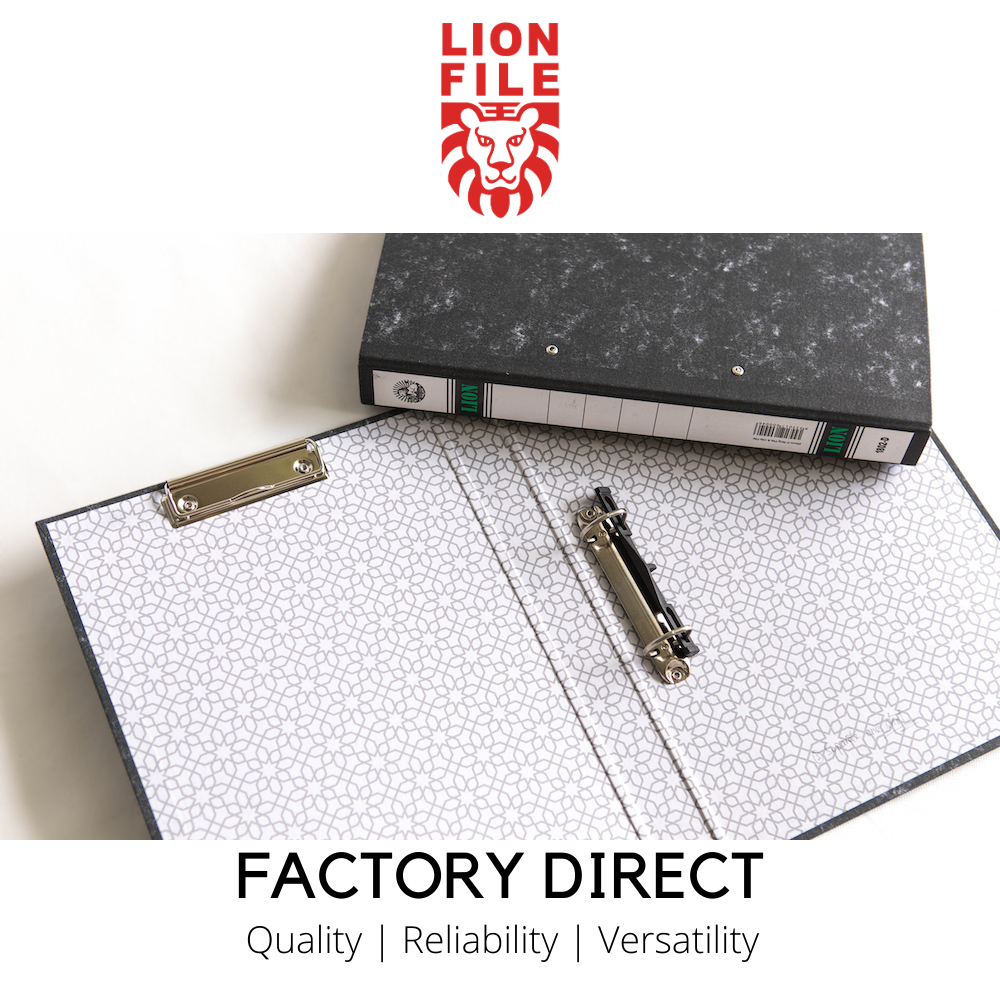 """Lion File 1.5"""" Marble Paper Ring File with Wire Clip (24pcs/ctn)"""