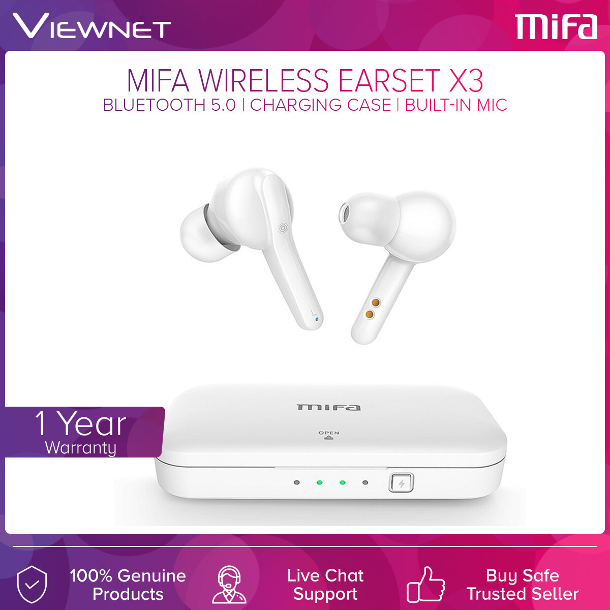 Mifa True Wireless Earset X3 with Bluetooth 5.0, Built-In Mic, Charging Case, Noise Cancelling, Up To 4 Hours Battery Life, 50 Hours Stanby Time