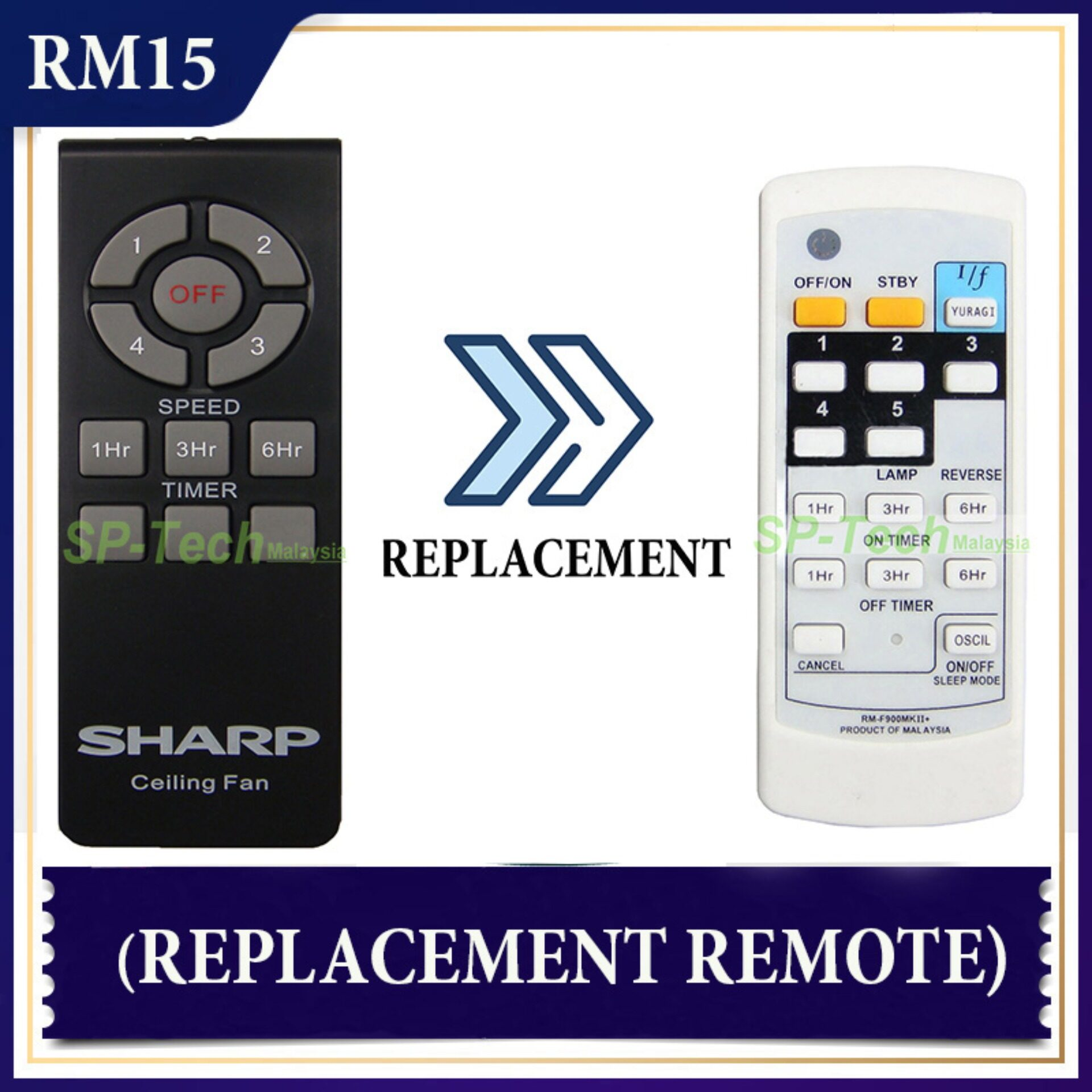 SHARP PJCB156-3S FAN REMOTE CONTROL (REPLACEMENT)