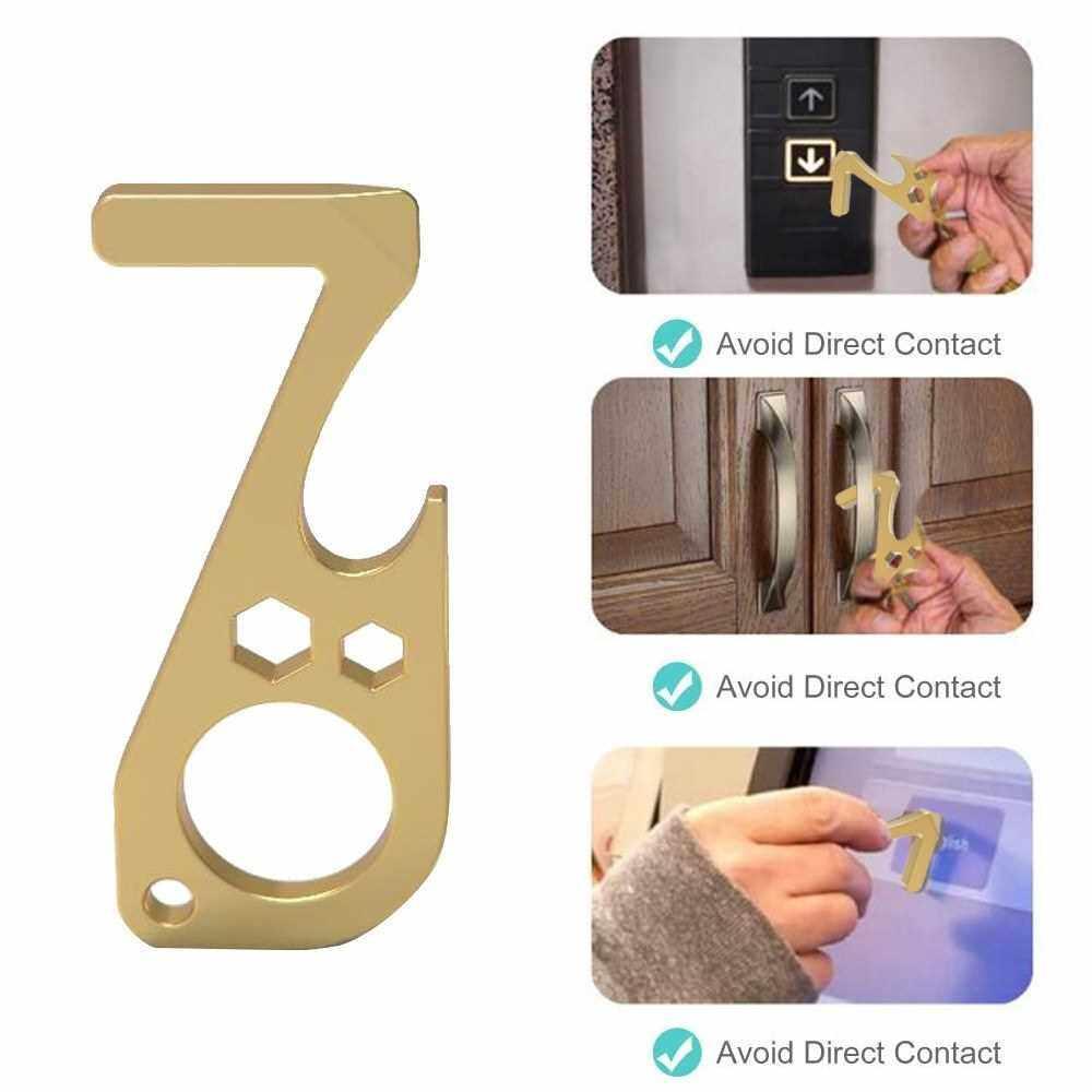 Best Selling Multi-functional Door Opener Button Pusher No-touching Door Opener Tool with Bottle Opener (Silver)