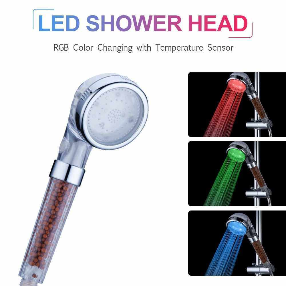 LED Hand Shower LED Shower Head Ionic Filter Automatically RGB Color-Changing Temperature Sensor No Batteries Needed Spray Showerhead for Bathroom (Multicolor)