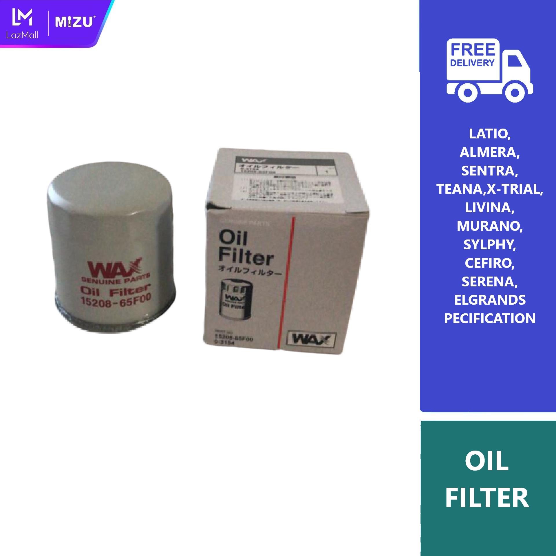 MIZU WAX Genuine NISSAN Oil Filter LIVINA,LATIO, SLYPHY, ALMERA, TEANA, XTRAIL 15208-65F00 Oil Filter DIY car accessories car minyak hitam 5w30 5w40 10w40 minyak injin engine oil 10w30 15w40 20w50