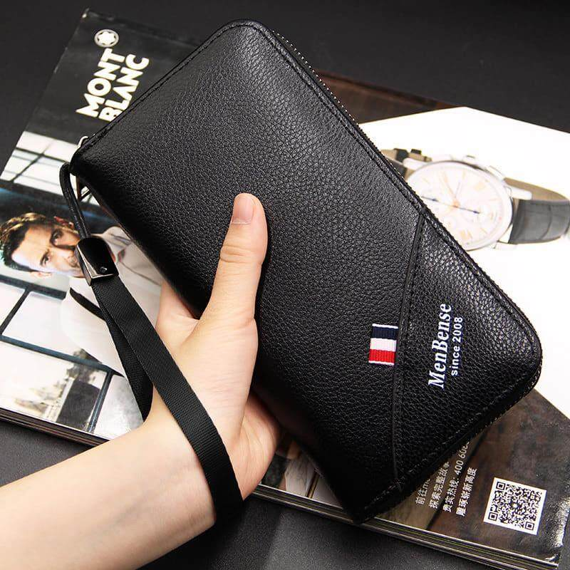 [M'sia Warehouse Direct] 2019 Korean Series Men's Leather Clutch Bag With String Multipurpose Fengshui Long Wallet Long Purse Perfect Gift For Father And Husband Handcarry Can Fit Iphone Any Android Mobile Portable Bag Card Hold Dompet Panjang Kulit Halal