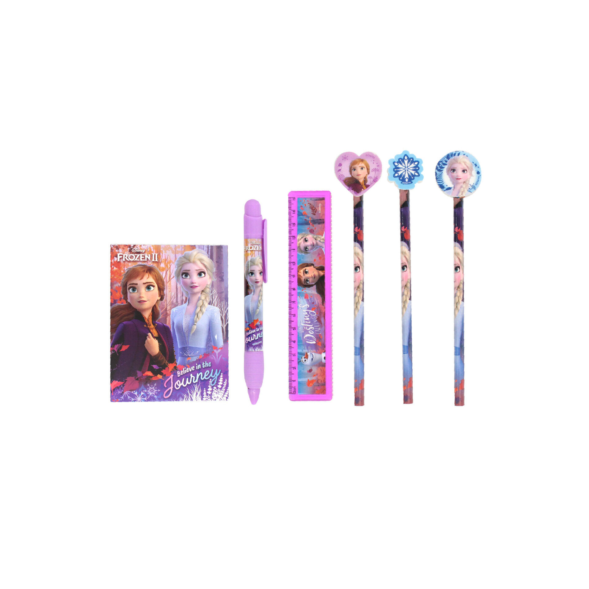 Disney Frozen 2 Princess Elsa & Anna All In 1 Big Stationery Case - 3 Pencils 1 Mechnical Pencil Ruler & Mini Notepad (Light Purple)