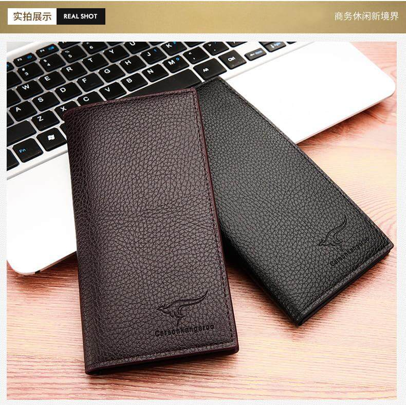 [M\'sia Warehouse Direct] 100% Cowhide Leather / PU Leather 2019 Korean Series Men\'s Fashion Multifunctional Long Purse Fengshui Portable Long Wallet With Clutch Card Coin ID Lightweight Hand Carry Bag Perfect Gift For Love One Dompet Panjang Kulit Halal