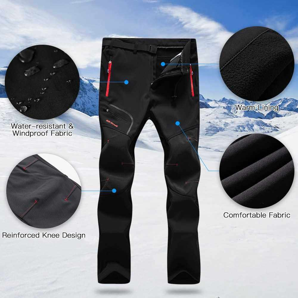 Men Hiking Pants Water Resistant Breathable Winter Pants with Pockets Fleece Lined Pants with Belt for Outdoor Camping Mountaineering Skiing Snowboarding (Blue)