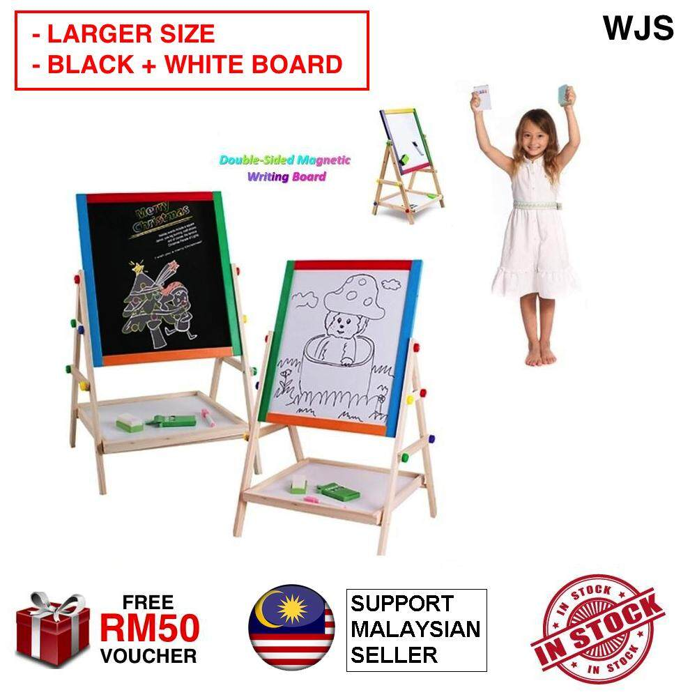 (LARGER SIZE WITH SOLID WOOD STAND) WJS 2 In 1 Kids Foldable Multicolour Wooden Easel White And Black Drawing Board Black Board White Board [FREE RM 50 VOUCHER]