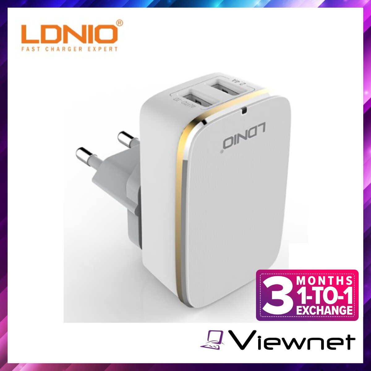 Ldnio 2 USB Port 2.4A Charger with Micro USB Cable (A2204), 2 x USB Output, 2.4A Auto Max 12W, UK 3-Pin Plug, Input AC100-240V 50-60Hz Max 500mA