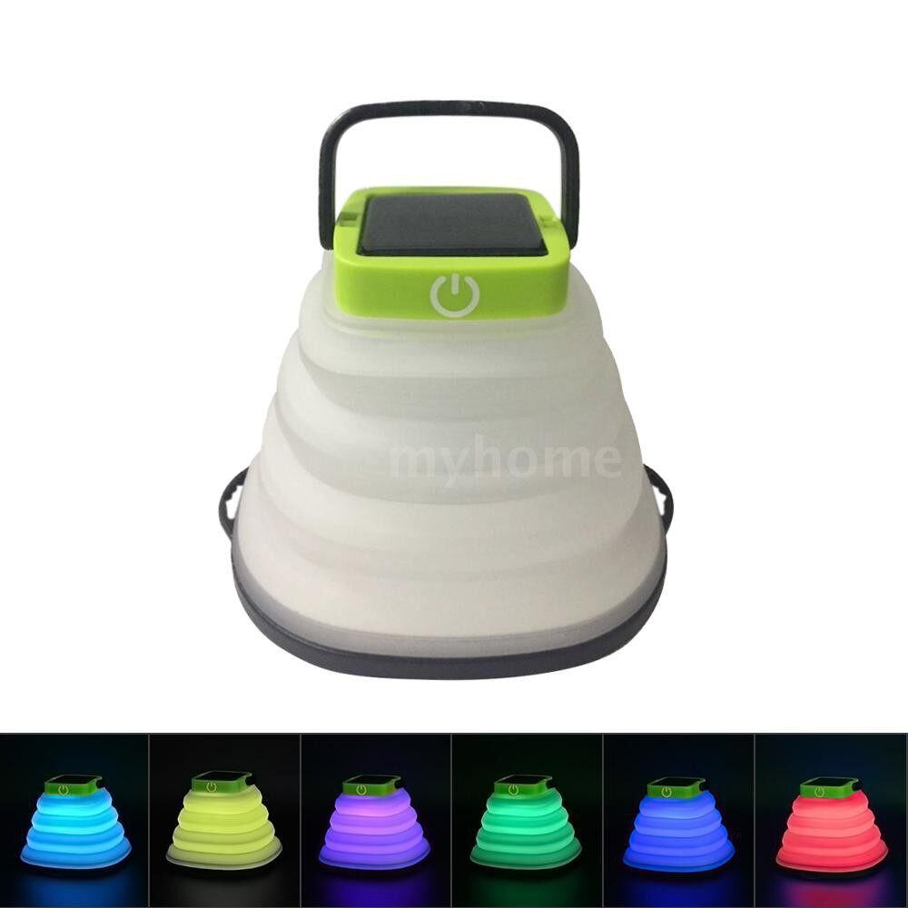 Outdoor Lighting - Collapsible Solar Lantern Light USB Rechargable & Solar Energy Powered IP68 Waterproof LED Camping - MULTICOLOR / WARM WHITE