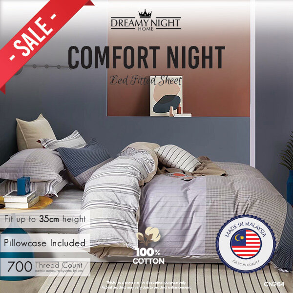 [100% Pure Cotton]HIGH QUALITY BRAND NEW 10 DESIGN Dreamynight Comfort Night High Quality Fitted Mattress Cover Bed Sheets Set 100% Cotton King/Queen/Super Single 700TC Hotel Collection 15 Design Dreamy night Comfortnight