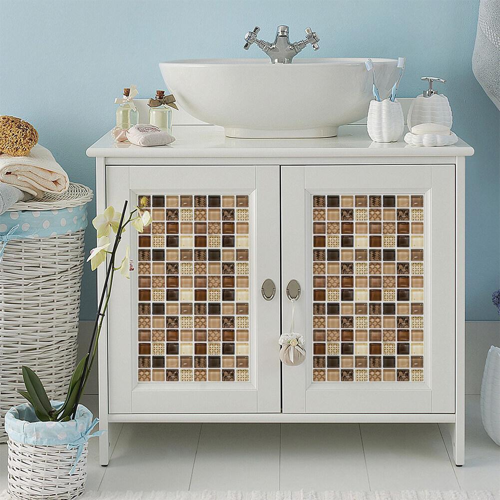 18Pcs 10*10cm Waterproof Oil Proof Self Adhesive Simulate Mosaic Tile Sticker for Kitchen Backsplash Bathroom Wall Decor