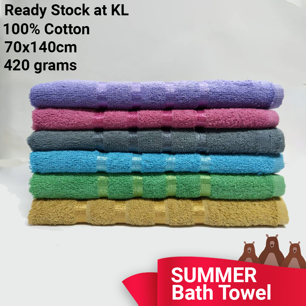 SUMMER ADULT BATH Towel - 100% Cotton  420 grams  70x140cm  READY STOCK IN KL  FAST SHIPPING  WATER Absorbent