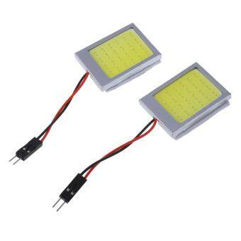 2 X T10 Panel 24 SMD COB LED Car Reading Bulb / Ceiling Lamp White +