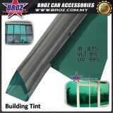 Broz ( 2ft x 2ft ) Silver Green Solar Control Window Tint Film Roll - Silver Inside Green Outside